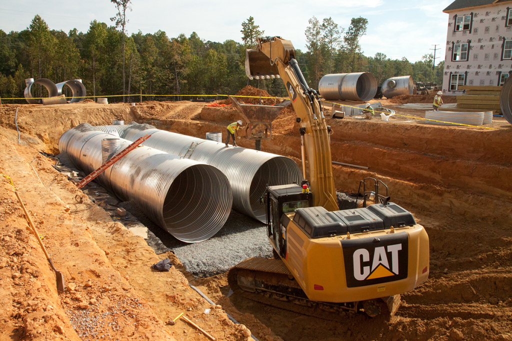 Installation of large underground sand filter at Marshall Springs.